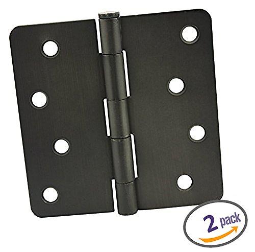 Dynasty Hardware 4 Door Hinges 14 Radius Corner Oil Rubbed Bronze 2-Pack