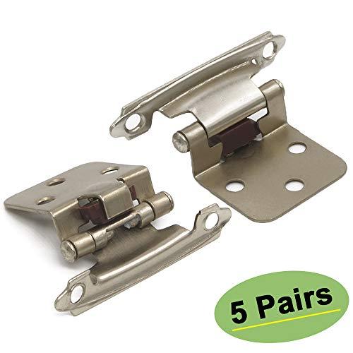 5 Pair10 Pack Cabinet Door Hinges -- Satin Nickel Door Hinges for Kitchen Cabinets SCH30BK homdiy Self Closing Door Hinges