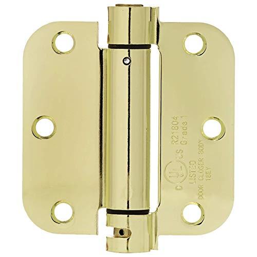 AmazonBasics Self-Closing Door Hinge 35 Inch x 35 Inch 1 Piece Polished Brass