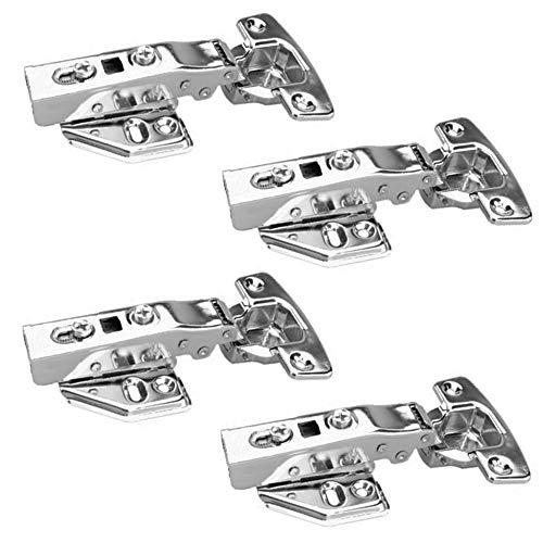 FYTRONDY 4 Pack Stainless Steel 110 Degree Soft Slow Closing Door Hinge for Frameless Cabinets Full Overlay