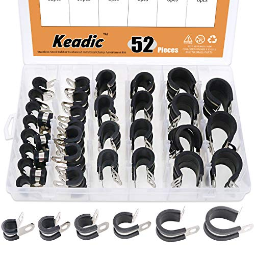 Keadic 52Pcs 14 38 12 58 34 1 Cable Clamp Rubber Wire Clamps Stainless Steel Rubber Cushioned Insulated Clamps Metal Clamp Assortment Kit with Durable Storage Box