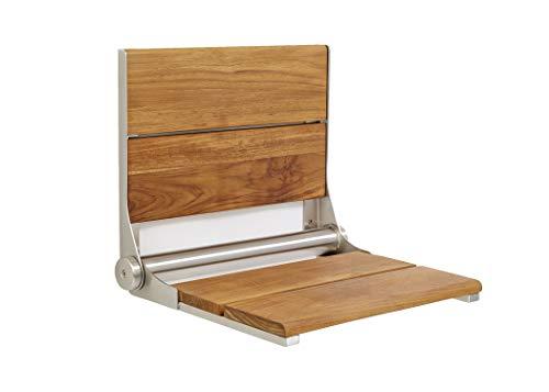 Lifeline Contour Folding Shower Seat - Teakwood  Stainless Steel Frame  26 x 16 inch