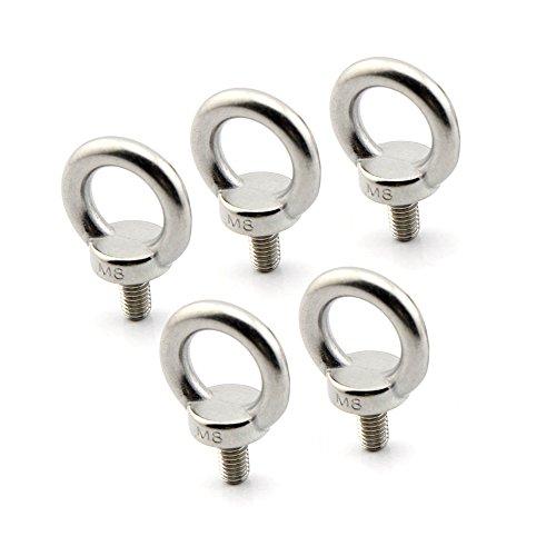 Yasorn 5-pack M8 Ring Eye Bolt Stainless Steel Screw Bolt