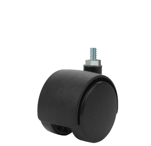 Twin Wheel Caster Solutions TWHN-40N-M10-BK 157 Diameter Nylon Wheel Hooded Non-Brake Caster 6 mm Diameter x 12 mm Length Threaded Stem 67 lb Capacity Range