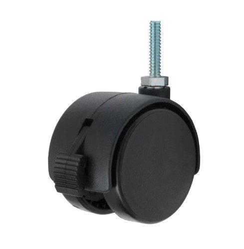 Twin Wheel Caster Solutions TWHN-50N-T03-BK-B 2 Diameter Nylon Wheel Hooded Brake Caster 14-20 Diameter x 1 Length Threaded Stem 110 lb Capacity Range