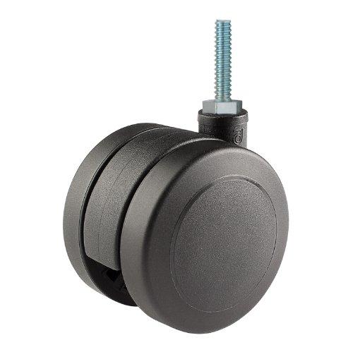 Twin Wheel Caster Solutions TWUN-60U-T03-BK 236 Diameter Nylon Wheel Unhooded Non-Brake Caster 14-20 Diameter x 1 Length Threaded Stem 132 lb Capacity Range