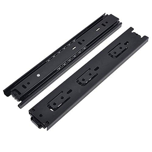 Btibpse BT9834 12 Inches Full Extension Drawer Slides  Ball Bearing Slide Rail 3 Section Black 1 Pair