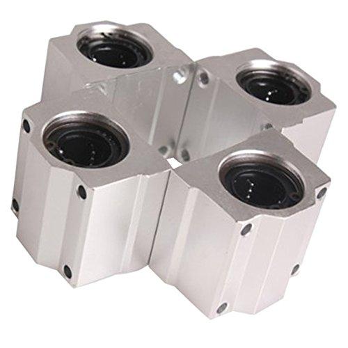 Linear Motion Ball Bearing - SODIALR 4 Pcs SC20UU 20mm Aluminum Linear Motion Ball Bearing Slide Bushing for CNC