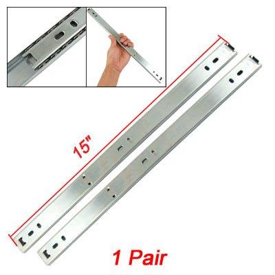 uxcell Drawer Cabinet 15 2-Fold Metal Ball Bearing Slide Pair
