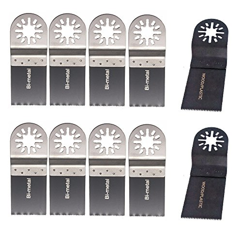 Goodbuy-US Pack of 10 Universal Oscillating Multitool Saw Blade Set Oscillating Tool Accessory Kit 34mm1-38 High Carbon Steel Saw Blade and 34mm1-38 Bi-Metal Saw Blade