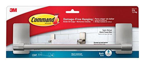 Command Hand Towel Bar Satin Nickel 1-Towel Bar BATH41-SN-ES