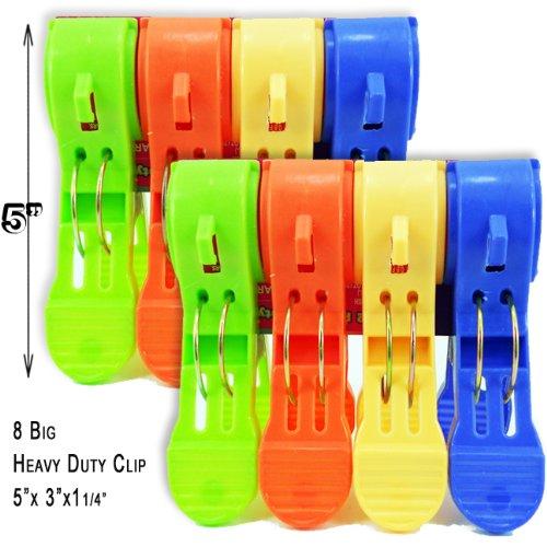 Big 5x3x1 14 Heavy Duty Plastic Spring Clamps Clothes Pins Pegs 8 Pcs